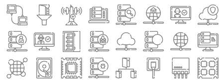 database and servers line icons. linear set. quality vector line Vettoriali