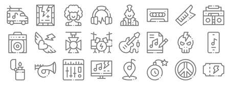 rock n roll line icons. linear set. quality vector line