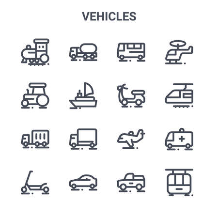 set of 16 vehicles concept vector line icons.
