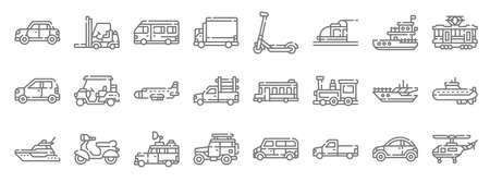 vehicles transports line icons. linear set. quality vector line Vettoriali