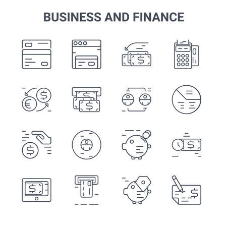 set of 16 business and finance concept vector line icons.  イラスト・ベクター素材
