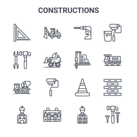 set of 16 constructions concept vector line icons.