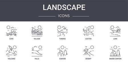 set of 10 landscape concept line icons