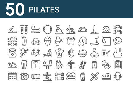 set of 50 pilates icons. thin outline