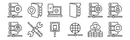 set of 12 linear database and servers icons. thin outline