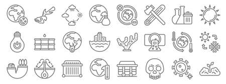 climate change line icons. linear set. quality vector line