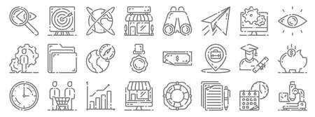 startup line icons. linear set. quality vector line