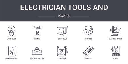 set of 10 electrician tools and concept line icons Vector Illustratie