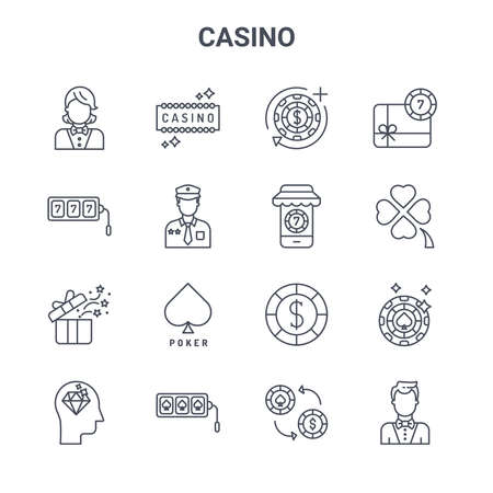 set of 16 casino concept vector line icons.
