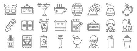 bar line icons. linear set. quality vector line