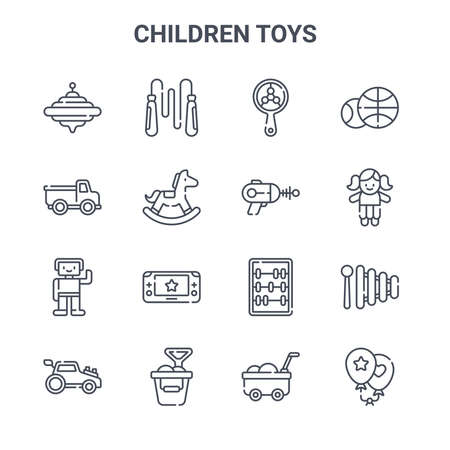 set of 16 children toys concept vector line icons.