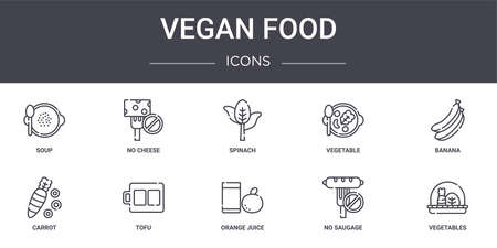 set of 10 food concept line icons