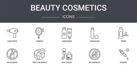 set of 10 beauty cosmetics concept line icons