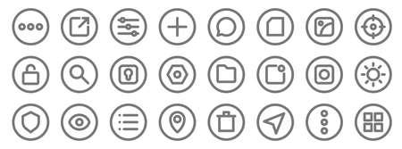 basic ui line icons. linear set. quality vector line Ilustração