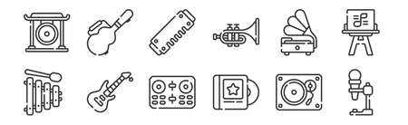 set of 12 linear music icons. thin outline  イラスト・ベクター素材