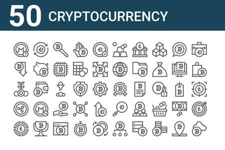 set of 50 cryptocurrency icons. thin outline