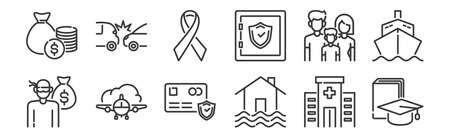 set of 12 linear insurance icons. thin outline Vettoriali