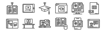 set of 12 linear e-learning icons. thin outline