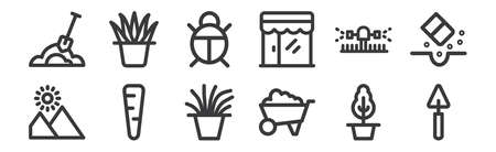 set of 12 linear landscaping equipment icons. thin outline
