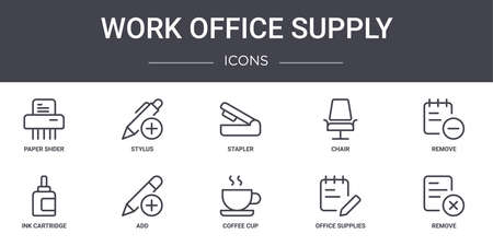 set of 10 work office supply concept line icons