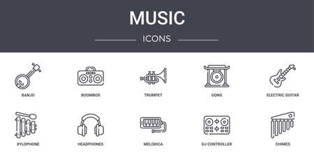 set of 10 music concept line icons