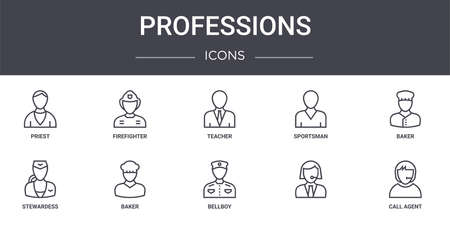 set of 10 professions concept line icons