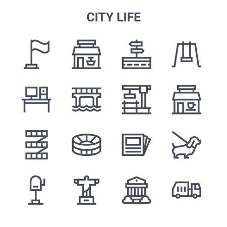 set of 16 city life concept vector line icons. 向量圖像