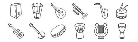 set of 12 linear music instruments icons. thin outline  イラスト・ベクター素材