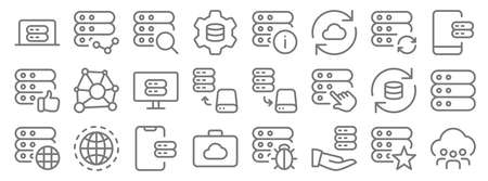work office server line icons. linear set. quality vector line 向量圖像