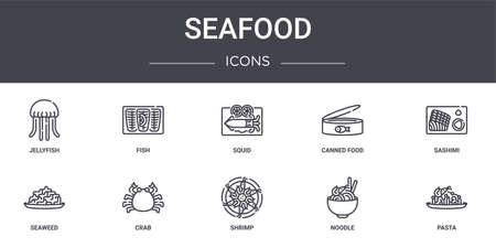 set of 10 seafood concept line icons Ilustração