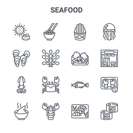 set of 16 seafood concept vector line icons.  イラスト・ベクター素材