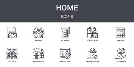 set of 10 home concept line icons