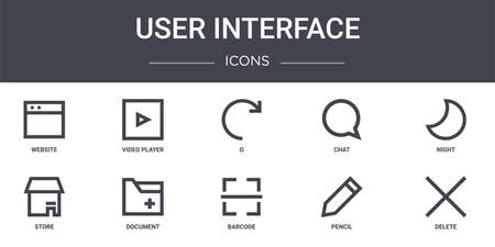 set of 10 interface concept line icons