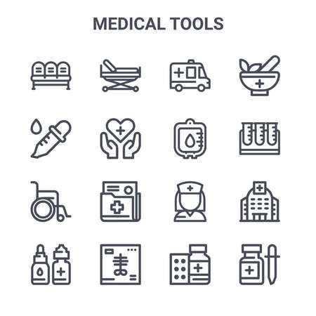 set of 16 medical tools concept vector line icons.