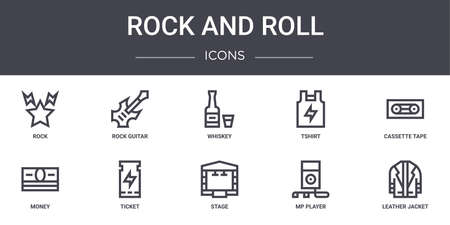 set of 10 rock and roll concept line icons Ilustrace