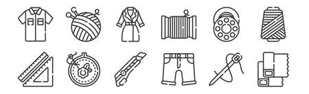 set of 12 linear sewing icons. thin outline Ilustracja