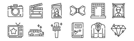 set of 12 linear fame icons. thin outline