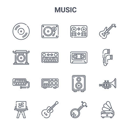 set of 16 music concept vector line icons.  イラスト・ベクター素材