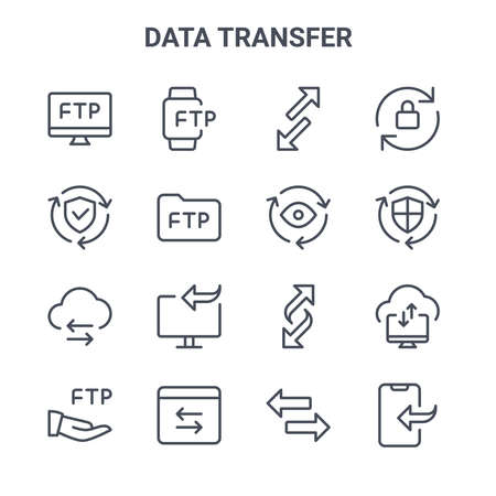 set of 16 data transfer concept vector line icons. Vector Illustration