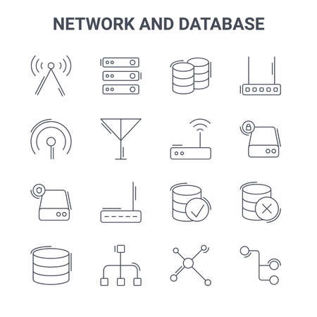 set of 16 network and database concept vector line icons.