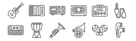 set of 12 linear music icons. thin outline Ilustrace