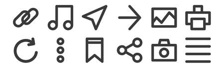 set of 12 linear user interface icons. thin outline