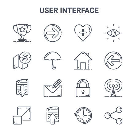 set of 16 user interface concept vector line icons. Ilustracja