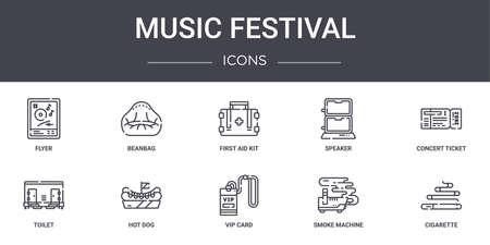 set of 10 music festival concept line icons Ilustrace