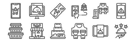set of 12 linear food delivery icons. thin outline