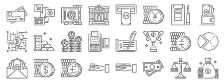 banking and money line icons. linear set. quality vector line