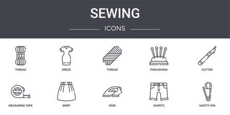 set of 10 sewing concept line icons Ilustracja