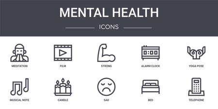 set of 10 mental health concept line icons