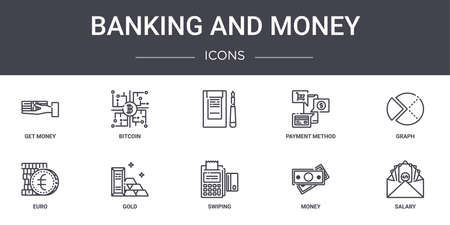 set of 10 banking and money concept line icons Ilustracja