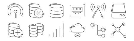 set of 12 linear network and database icons. thin outline Vettoriali